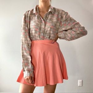 80s/90s grid print silk blouse